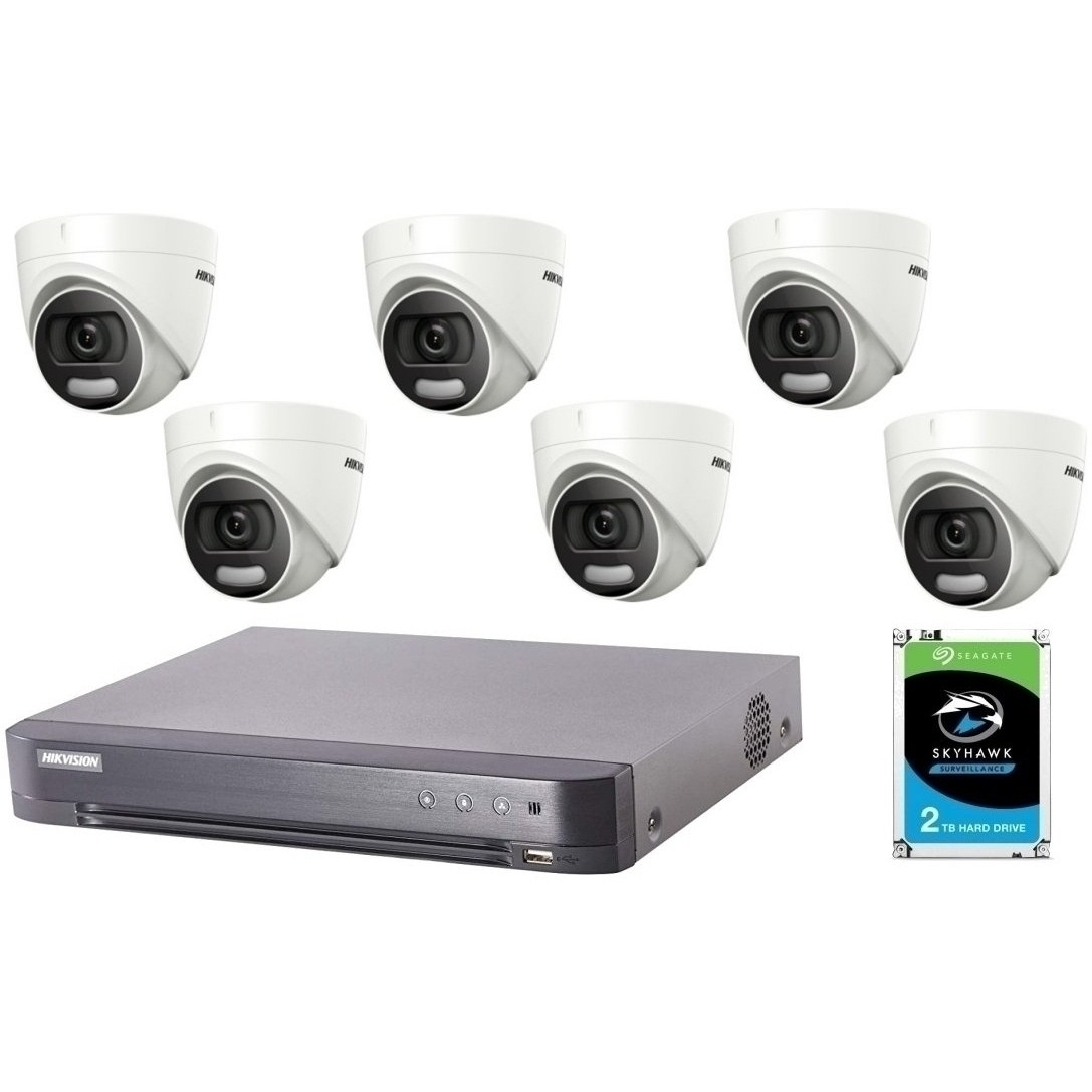6 Camera 5MP HD CCTV with 2TB Drive