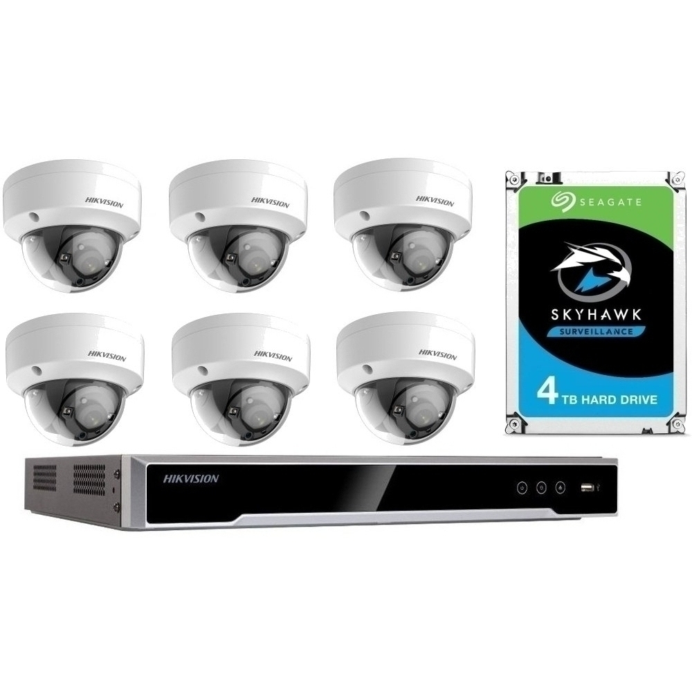 6 Camera 4K IP CCTV with 4TB Drive